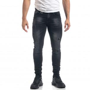 Черни мъжки Slim fit дънки с прокъсвания