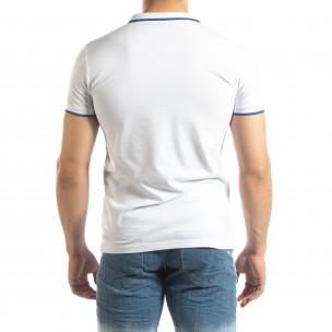 Бяла мъжка тениска пике с лого  2