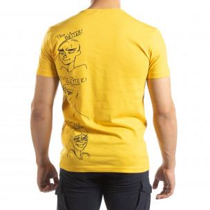 Жълта мъжка тениска забавен принт  2
