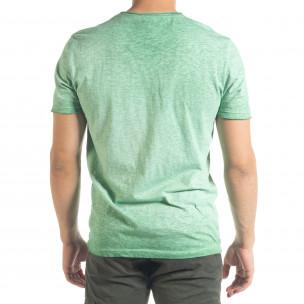 Зелена мъжка тениска от памук и лен  2