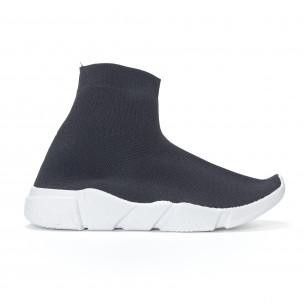 Дамски черни маратонки slip-on тип чорап