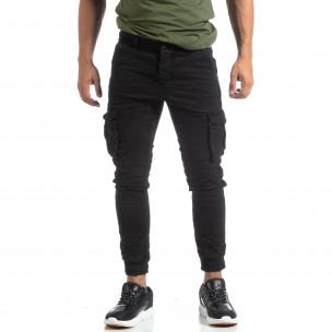 Мъжки намачкан панталон Cargo в черно  2