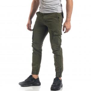 Зелен мъжки карго панталон с ципове на крачолите  2