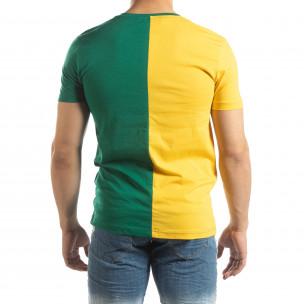 Мъжка тениска в зелено и жълто с принт  2