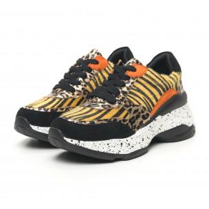 Дамски маратонки Patchwork дизайн с леопард 2