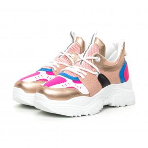 Chunky дамски маратонки в розово и синьо 2