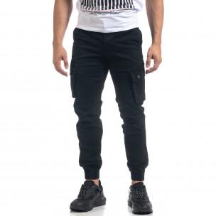 Мъжки черен панталон с карго джобове  2