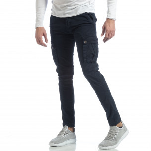 Син мъжки панталон с карго джобове G-9
