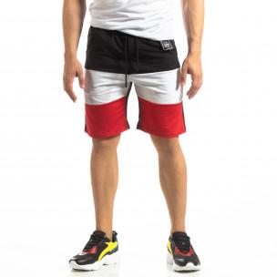 Черни мъжки шорти с бяло и червено