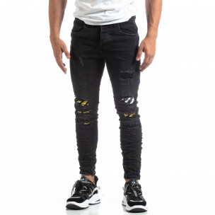Slim fit мъжки черни дънки с акценти  2