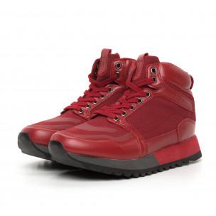 Мъжки високи спортни обувки в червено 2