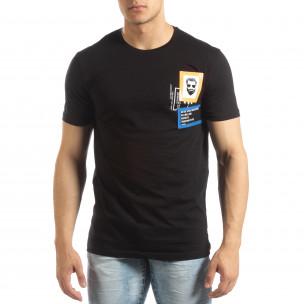 Черна мъжка тениска с гумени рамки