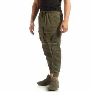 Cropped мъжки зелен панталон с джобове 2