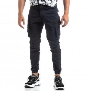 Син мъжки панталон с ципове на джобовете 2