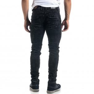 Washed мъжки черни дънки Slim fit  2