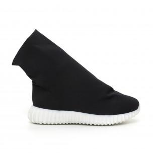 Дамски черни боти от неопрен тип чорап