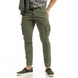 Зелен мъжки карго панталон с прави крачоли 2