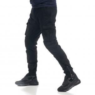 Мъжки черен карго панталон ватиран  2