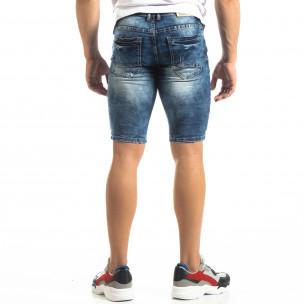 Мъжки къси дънки Slim-fit в синьо с прокъсвания  2