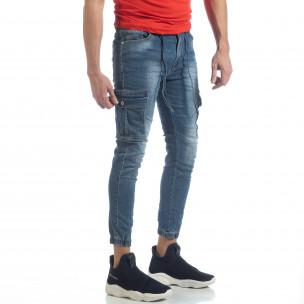 Мъжки сини карго дънки с ластик и връзки