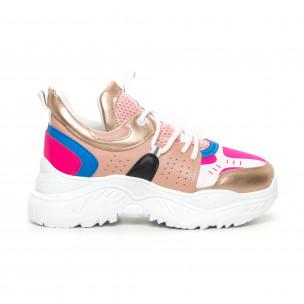 Chunky дамски маратонки в розово и синьо