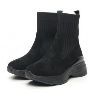 Дамски черни маратонки тип чорап с обемна подметка  2