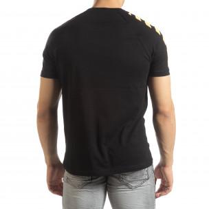 Черна мъжка тениска с реглан ръкав  2