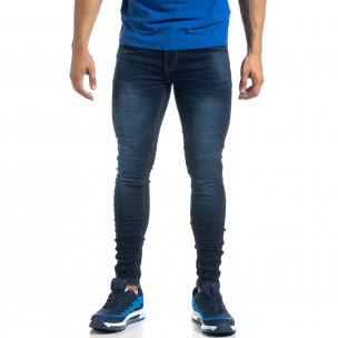 Намачкани мъжки дънки в цвят индиго Skinny fit