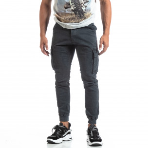 Мъжки сив карго панталон с маншети трико  2