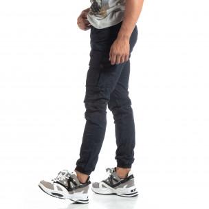 Мъжки син рокерски панталон с карго джобове