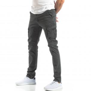 Мъжки панталон тип карго в тъмно сиво 2