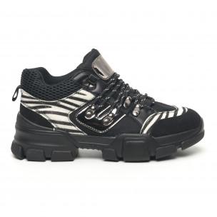 Дамски спортни обувки тип Hiker черно и зебра