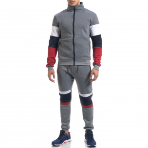 Сив ватиран мъжки спортен комплект Biker style
