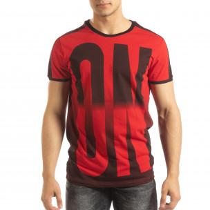 Червена мъжка тениска ON/OFF с преливане