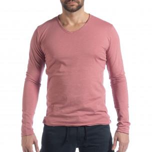 Мъжка блуза V-neck в розово