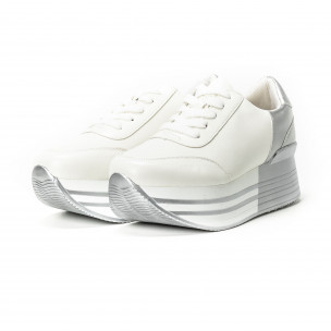Сребристо-бели дамски маратонки на платформа 2