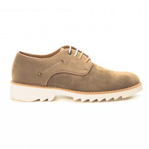 Casual мъжки обувки в бежов велур