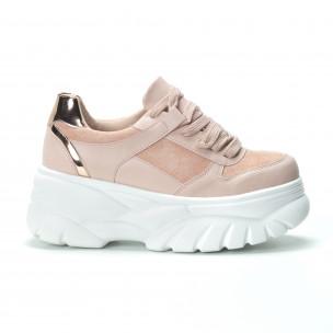 Chunky дамски маратонки в розово на платформа 2