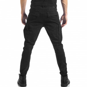 Мъжки черен карго панталон с ципове  2