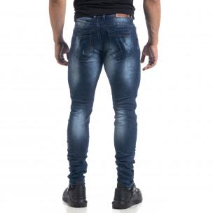 Мъжки сини дънки с ефекти Fashion Slim fit   2