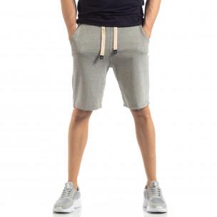 Мъжки сиви шорти на тънко райе