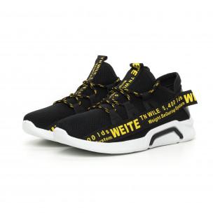 Текстилни мъжки маратонки с жълти надписи 2