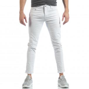 Skinny мъжки бели дънки намачкани