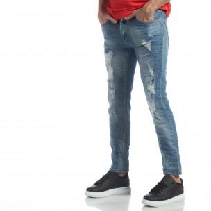 Мъжки сини дънки с големи прокъсвания