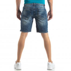 Мъжки сини къси дънки състарен ефект  2