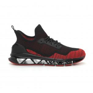 Леки мъжки маратонки Knife в черно и червено Reeca 2