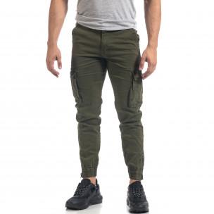 Зелен мъжки карго панталон с ципове на крачолите