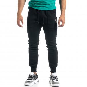 Мъжко черно долнище с апликирани джобове