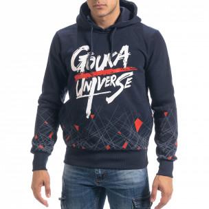 Син мъжки суичър hoodie с принт