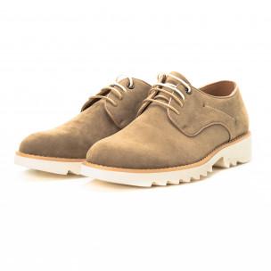 Casual мъжки обувки в бежов велур 2